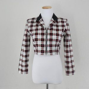 Vintage cropped plaid light jacket hipster 1990s